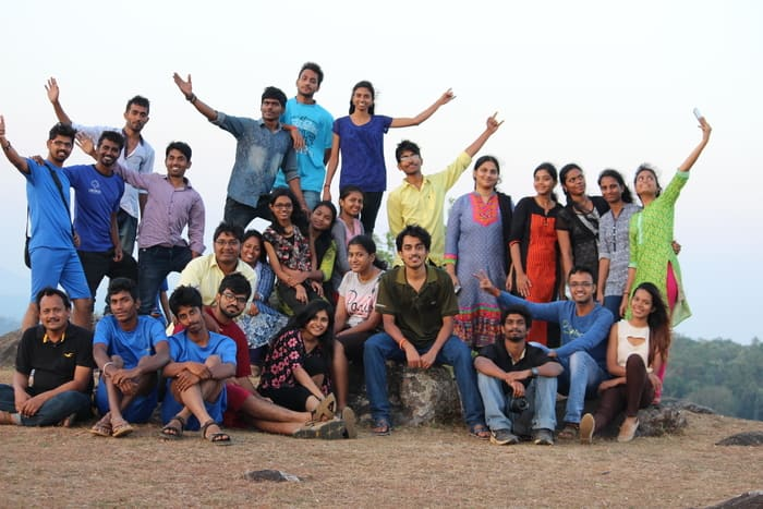 goup of indian friends on hillside