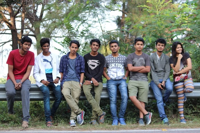 indian college friends chilling on holiday