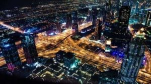 Aerial view of dubai skyline during night